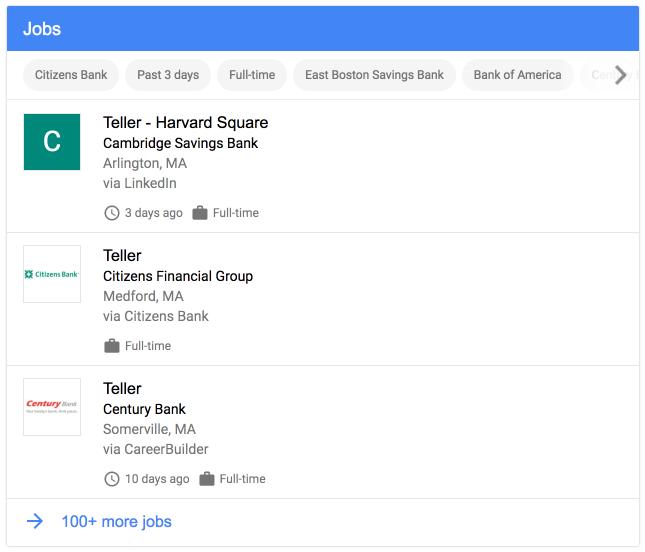voorbeeld Job posting feature Google