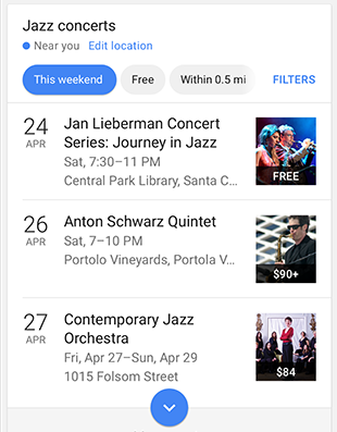 voorbeeld Event feature Google