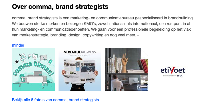Bedrijfspagina comma, brand strategists